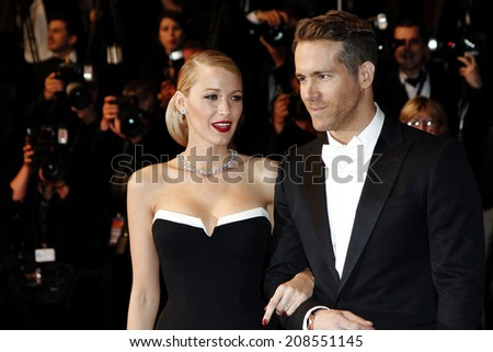 CANNES, FRANCE - MAY 16: Ryan Reynolds and Blake Lively attend 'The Captive' premiere during the 67th Cannes Film Festival on May 16, 2014 in Cannes, France - stock photo