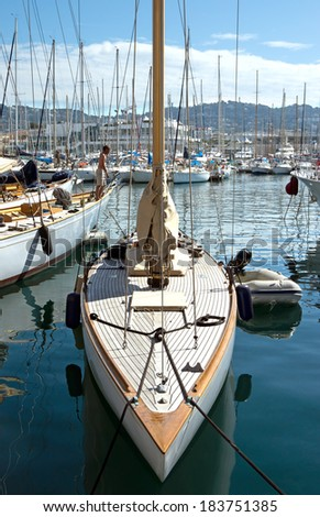 CANNES, FRANCE - MAY 6: Sailing boats moored in the port on May 6, 2013 in Cannes, France.