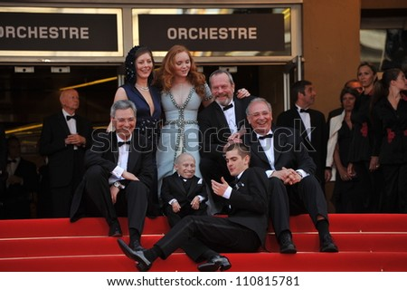 "CANNES, FRANCE - MAY 22, 2009: Samuel Hadida, Amy Gilliam, Lily Cole, Verne Troyer, Andrew Garfield, Terry Gilliam & Nicola Percorini at the premiere of ""The Imaginarium of Doctor Parnassus"""
