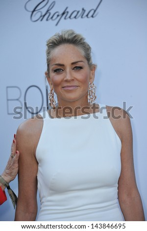 CANNES, FRANCE - MAY 23, 2013: Sharon Stone at amfAR's 20th Cinema Against AIDS Gala at the Hotel du Cap d'Antibes, France