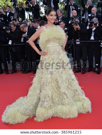 "CANNES, FRANCE - MAY 18, 2015: Sonam Kapoor at the gala premiere of Disney/Pixar's ""Inside Out"" at the 68th Festival de Cannes."