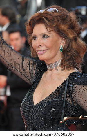 CANNES, FRANCE - MAY 24, 2014: Sophia Loren at the gala awards ceremony at the 67th Festival de Cannes. - stock photo