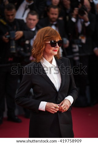 Cannes, France - 11 MAY 2016 - Susan Sarandon attends the screening of 'Cafe Society' at the opening gala of the annual 69th Cannes Film Festival at Palais des Festivals - stock photo