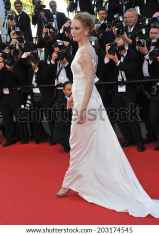 CANNES, FRANCE - MAY 24, 2014: Uma Thurman at the gala awards ceremony at the 67th Festival de Cannes.  - stock photo