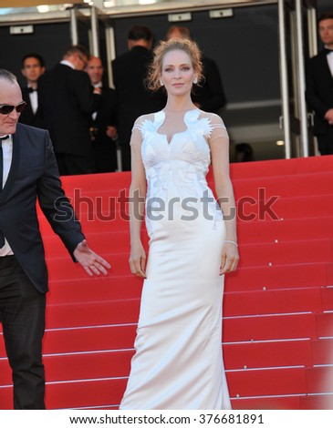 CANNES, FRANCE - MAY 24, 2014: Uma Thurman at the gala awards ceremony at the 67th Festival de Cannes.