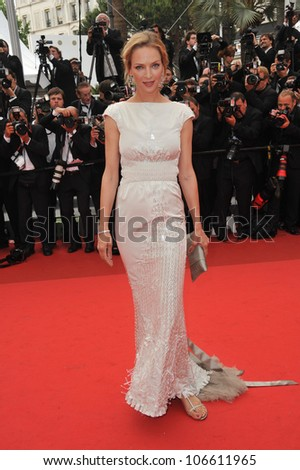 """CANNES, FRANCE - MAY 14, 2011: Uma Thurman at the gala screening for """"Pirates of the Caribbean: On Stranger Tides"""" at the 64th Festival de Cannes. May 14, 2011  Cannes, France - stock photo"""