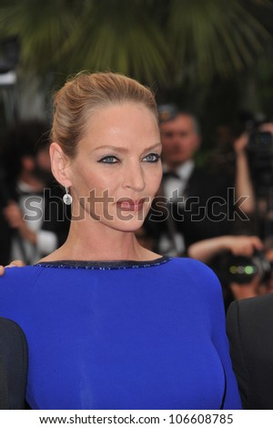 CANNES, FRANCE - MAY 22, 2011: Uma Thurman  at the 64th Festival de Cannes awards gala. May 22, 2011  Cannes, France - stock photo