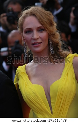 CANNES, FRANCE - MAY 23: Uma Thurman  attend? the 'Clouds Of Sils Maria' premiere at the 67th Annual Cannes Film Festival on May 23, 2014 in Cannes, France. - stock photo