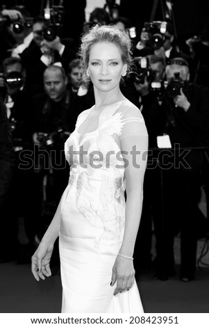 CANNES, FRANCE - MAY 24: Uma Thurman attends the Closing Ceremony of the 67th Cannes Film Festival in Cannes, France on May 24, 2014. - stock photo