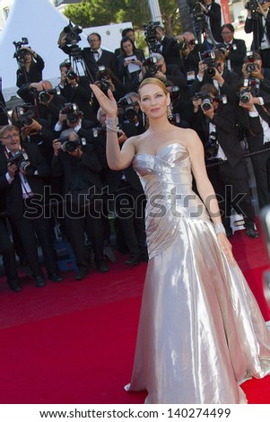CANNES, FRANCE - MAY 26: Uma Thurman attends the Premiere of 'Zulu' and the Closing Ceremony of The 66th  Cannes Film Festival at Palais on May 26, 2013 in Cannes, France. - stock photo