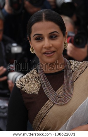 CANNES, FRANCE - MAY 15: Vidya Balan attends the Jury Photocall during the 66th Annual Cannes Film Festival at the Palais des Festivals on May 15, 2013 in Cannes, France. - stock photo