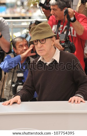 "CANNES, FRANCE - MAY 15, 2010: Woody Allen at the photocall for his movie ""You Will Meet A Tall Dark Stranger"" out of competition at the 63rd Festival de Cannes. - stock photo"