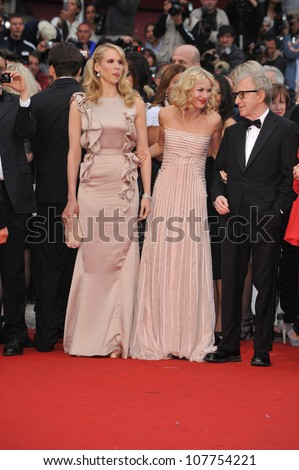 "CANNES, FRANCE - MAY 15, 2010: Woody Allen, Naomi Watts & Lucy Punch at the premiere of their new movie ""You Will Meet A Tall Dark Stranger"" at the 63rd Festival de Cannes. - stock photo"