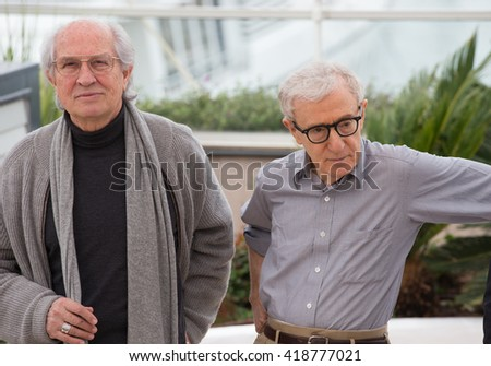 CANNES, FRANCE - MAY 11: Woody Allen , Woody Allen attend the 'Cafe Society' photocall during the 69th annual Cannes Film Festival at Palais des Festivals on May 11, 2016 in Cannes, France. - stock photo