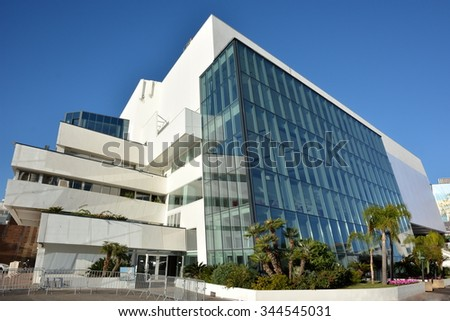 CANNES, FRANCE-NOVEMBER 27: Conference hall shown on november 27, 2015 in Cannes, France. Its conception was confided to the architects Bennet et Druet and it was inaugurated in december 1982. - stock photo