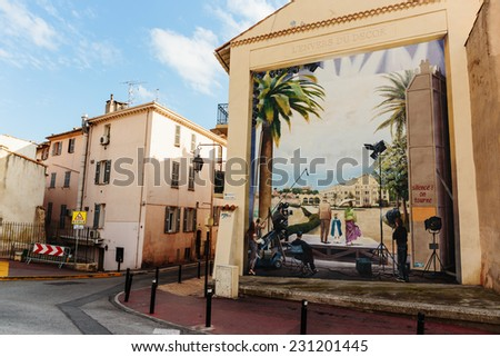 CANNES, FRANCE - NOVEMBER 3, 2014: The mural on the wall of a house