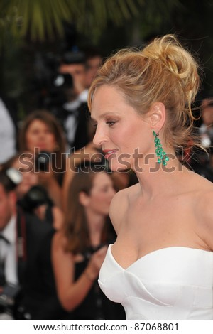 """Cannes Jury member Uma Thurman at the gala premiere for """"Midnight in Paris"""" the opening film at the 64th Festival de Cannes. May 11, 2011  Cannes, France Picture: Paul Smith / Featureflash - stock photo"""