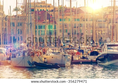 Cannes Marina French Riviera. Port De Cannes Marina France. Yachts and Boats. - stock photo