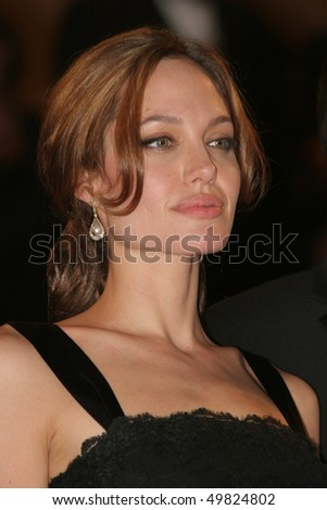 CANNES- MAY 21: Angelina Jolie attends the screening of A Mighty Heart produced by Brad Pitt with Angelina Jolie,on the Red Carpet,on May 21 2007 in Cannes, France - stock photo
