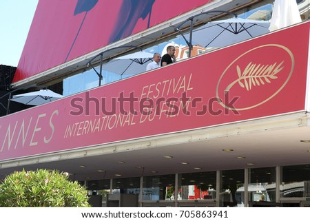 CANNES - MAY 16, 2017: Display Signs for The 70th annual Cannes Film Festival at the Palais in Cannes.