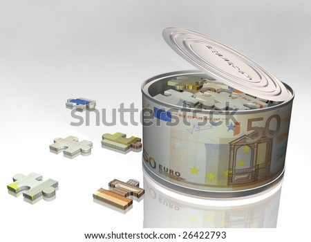Canning jar and puzzle with the image of euro on a white background
