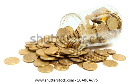 canning jar filled with golden coins