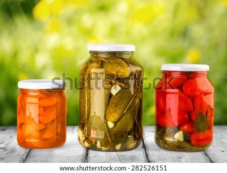 Canning, Jar, Food. - stock photo