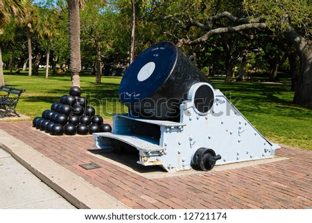 Cannon and Cannon Balls on the Battery in Charleston, SC - stock photo