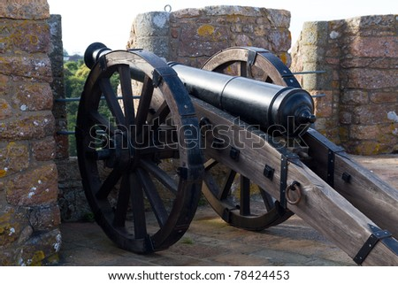 Cannon at Mont Orgueil Castle in Gorey, Jersey, UK