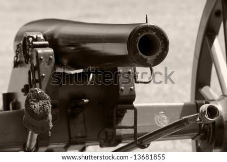 Cannon barrel in monochrome - stock photo