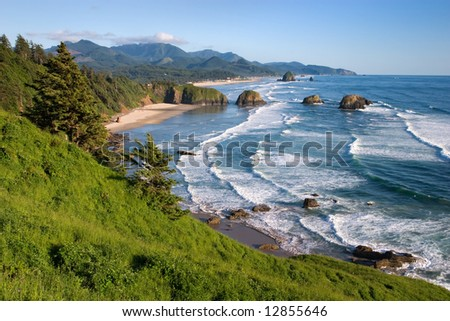 Cannon Beach From Ecola State Park - stock photo