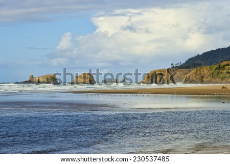 Cannon Beach, Oregon, looking north - stock photo