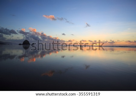 Cannon Beach Reflection - stock photo