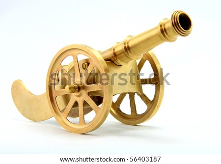 Cannon Brass ware Isolated on White - stock photo