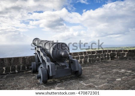 Cannon faces the Caribbean Sea at Brimstone Hill Fortress on Saint Kitts. West Indies