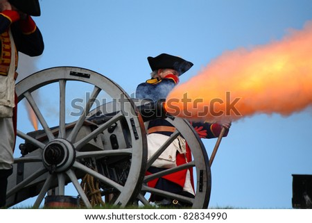 Cannon firing - stock photo