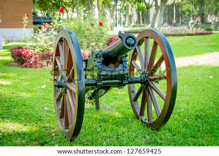 Cannon from Chile-Peru war in Lima - stock photo