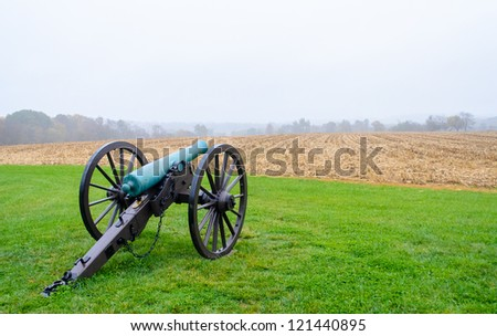 cannon in morning fog at Monocacy National Battlefield - stock photo