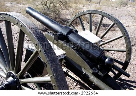 cannon on display at a civil war reenactment at Picacho Peak State Park, Arizona - stock photo