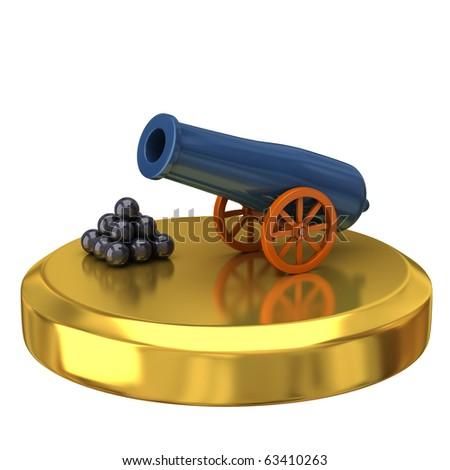 Cannon on gold podium - stock photo