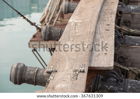 cannon on sail ship detail