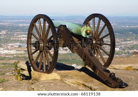 cannon on the edge of Lookout Mountain - stock photo