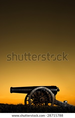 Cannon on top of hill in Vicksburg, MS - stock photo