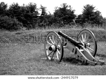 Cannon overlooking tree line - stock photo