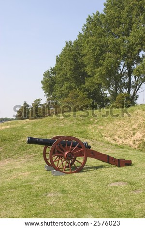 Cannon still used at a Big Yearly Festival in the Netherlands. - stock photo