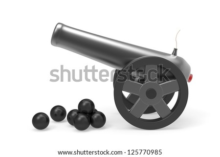 Cannon with black bombs on white background - stock photo