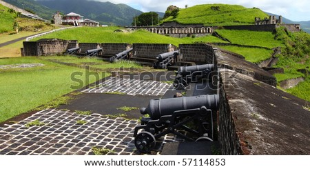 Cannons at Brimstone Hill Fortress - St Kitts - stock photo
