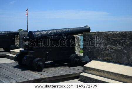 cannons at Castillo de San Marcos fort in St. Augustine, Florida - stock photo