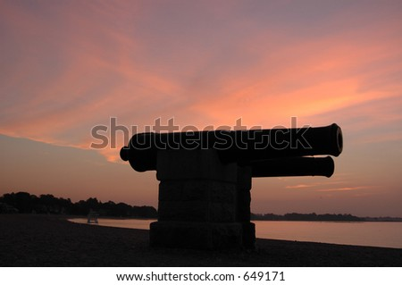 Cannons at Twilight - stock photo
