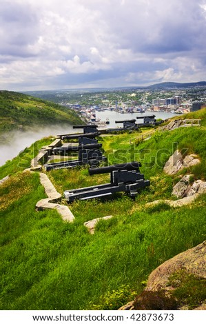 Cannons on Signal Hill near St. John's in Newfoundland Canada - stock photo